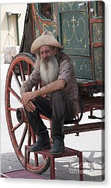 Old Timer Watching The Dying Of The West Acrylic Print