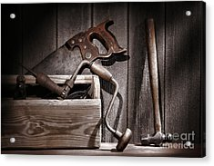 Old Tools Acrylic Print by Olivier Le Queinec
