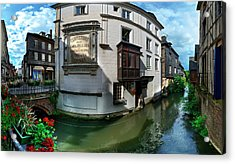 Old Town And Canal, Pont-audemer, Eure Acrylic Print by Panoramic Images
