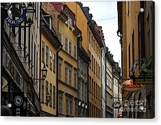 Old Town In Stockholm Sweden Acrylic Print by Micah May