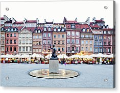 Old Town Market Place At Dusk Acrylic Print by Jorg Greuel
