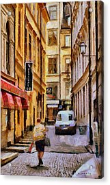 Acrylic Print featuring the digital art Old Town Of Stockholm by Kai Saarto