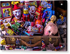 Old Toys In Suitcase Acrylic Print by Garry Gay