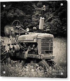 Old Tractor Black And White Square Acrylic Print by Edward Fielding