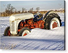 Old Tractor In The Snow Acrylic Print