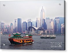 Old Traditional Chinese Junk In Front Of Hong Kong Skyline Acrylic Print by Lars Ruecker