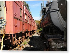 Old Train Wagons At Ease Acrylic Print by Malu Couttolenc