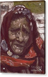 Old Tribal Woman From India Acrylic Print