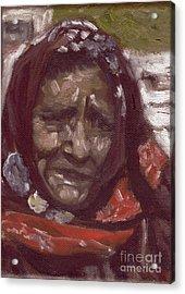 Old Tribal Woman From India Acrylic Print by Mukta Gupta