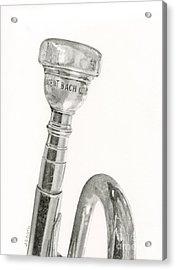 Old Trumpet Acrylic Print by Sarah Batalka