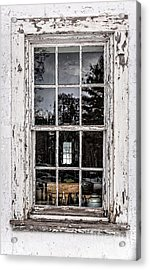 Old Twelve Pane Window With Antique Bottles Acrylic Print by Edward Fielding