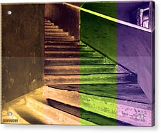 Old Vintage Building Wide Staircases Digitally Painted For Decoration Art Acrylic Print