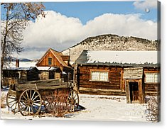 Old Wagon And Ghost Town Buildings Acrylic Print by Sue Smith