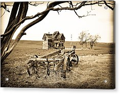 Old Wagon And Homestead Acrylic Print by Athena Mckinzie