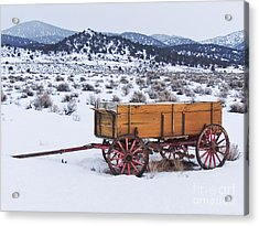 Old Wagon In Snow Acrylic Print