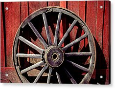 Old Wagon Wheel Acrylic Print by Garry Gay