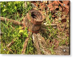 Old Wagon Wheel Acrylic Print by Jim Sauchyn