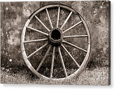 Old Wagon Wheel Acrylic Print by Olivier Le Queinec