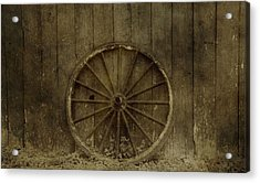 Old Wagon Wheel On Barn Wall Acrylic Print by Dan Sproul