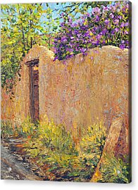 Old Wall And Lilacs Acrylic Print by Steven Boone