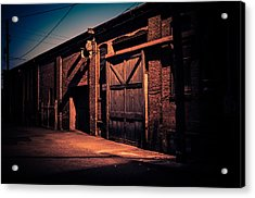 Old Warehouse Building At Night In Georgetown Seattle Acrylic Print by Brian Xavier