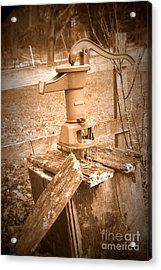 Old Water Pump Sepia Acrylic Print