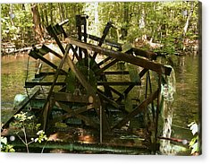 Acrylic Print featuring the photograph Old Waterwheel by Cathy Harper