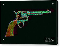 Old Western Pistol - 20130121 - V1 Acrylic Print by Wingsdomain Art and Photography