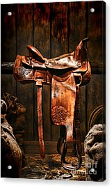 Old Western Saddle Acrylic Print by Olivier Le Queinec