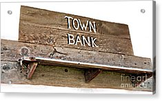 Old Western Town Bank Sign  Acrylic Print