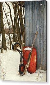Old Wheelbarrow Leaning Against Barn/ Digital Painting Acrylic Print by Sandra Cunningham