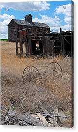 Acrylic Print featuring the photograph Old Wheels And Barn by Kjirsten Collier