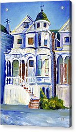 Acrylic Print featuring the painting Old White Victorian In Oakland California by Asha Carolyn Young