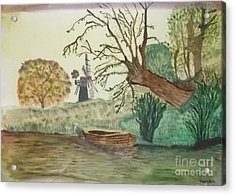 Old Willow And Boat Acrylic Print