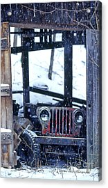 1g25 Old Willys Jeep In Old Barn Acrylic Print