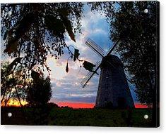 Old Windmill In The Evening Acrylic Print by Juozas Mazonas