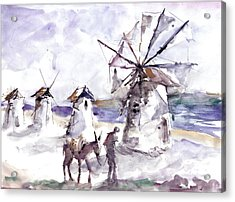 Acrylic Print featuring the painting Old Windmills At Bodrum by Faruk Koksal