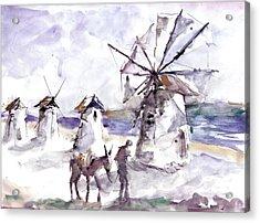 Old Windmills At Bodrum Acrylic Print