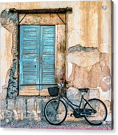 Old Window And Bicycle Acrylic Print by George Digalakis