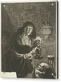 Old Woman By Candlelight, Albert Haelwegh Acrylic Print by Albert Haelwegh And Anonymous And Joachim Von Sandrart