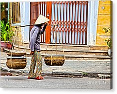 Old Woman In Hoi An Vietnam Acrylic Print by Fototrav Print