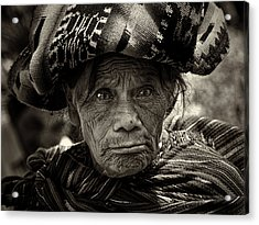 Old Woman Of Chichicastenango Acrylic Print by Tom Bell