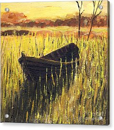 Old Wooden Boat In The Reeds  Acrylic Print