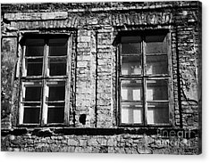 Old Wooden Double Layer Glazing In Old Red Brick Building With Plaster Facade Removed For Renovation Kazimierz Krakow Acrylic Print by Joe Fox