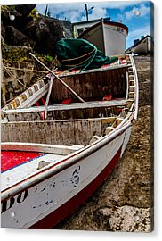 Old Wooden Fishing Boat On Dock  Acrylic Print