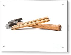 Old Wooden Rule And Hammer. Acrylic Print by Stephen Baker