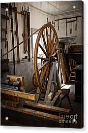 Old Wooden Treadle Lathe And Tools Acrylic Print