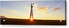 Old Wooden Windmill At Sunset, Pie Acrylic Print by Panoramic Images