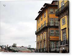 Old World Buildings In  Porto Acrylic Print by John Rizzuto