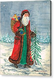 Old World Father Christmas 5 Acrylic Print by Barbel Amos